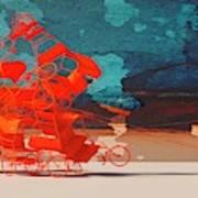 Rickshaw Pileup and Cow Art Print