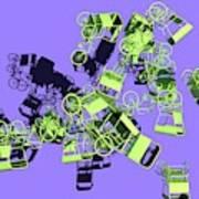 Green Rickshaws Flying Art Print