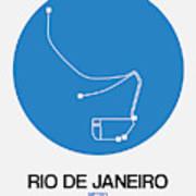 Rio De Janeiro Blue Subway Map Art Print