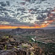 Rio Grande River Sunrise 2 - White Rock New Mexico Art Print