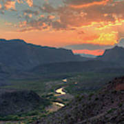 Rio Grande River Sunset Art Print