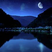 Rising Moon Over Lake Art Print