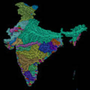 River Basins Of India In Rainbow Colours Art Print