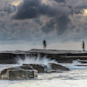 Rock Ledge, Spear Fishermen And Cloudy Seascape Art Print
