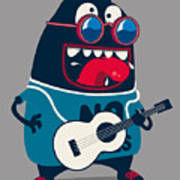 Rock Star Monster, Guitar Art Print