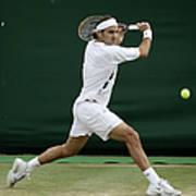 Roger Federer Of Switzerland In Action Art Print