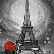 Romance At The Eiffel Tower Art Print