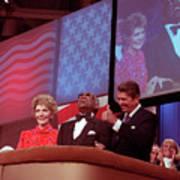 Ronald And Nancy Reagan With Ray Charles Art Print
