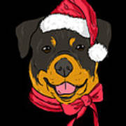 Rotweiler Xmas Hat Dog Pet Lover Christmas Art Print