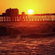 Ruby Sunset Oceanside Pier Art Print