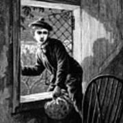 Runaway Boy Climbing Out Of A Window Art Print