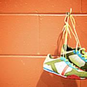 Runnig Shoes Hanging On A Hook Art Print