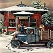 Rural Post Office At Christmas Art Print
