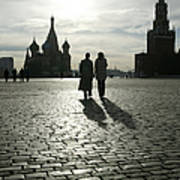 Russia, Moscow, Red Square, Silhouette Art Print
