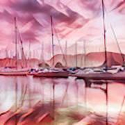 Sailboat Reflections At Sunrise Abstract Art Print