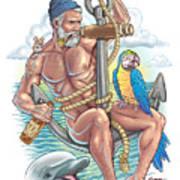 Sailor On Anchor Art Print