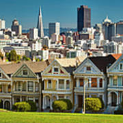 San Francisco Postcard Row Skyline Art Print