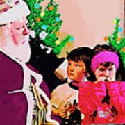 Santa And The Kids Art Print