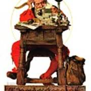 Santa At His Desk Art Print