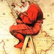 Santa At The Map Art Print