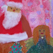 Santa Claus And Guardian Angel - Pintoresco Art By Sylvia Art Print