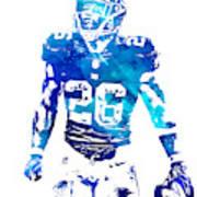 Saquon Barkley New York Giants Water Color Pixel Art 11 Art Print