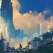 Sci-fi Cityscape With Slum And Art Print
