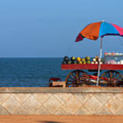 Seafront View Of Vendors Cart With Art Print