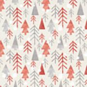 Seamless Christmas Pattern On Paper Art Print