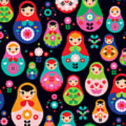 Seamless Colorful Retro Russian Doll Art Print