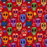 Seamless Pattern-mexican Day Of The Art Print