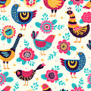 Seamless Pattern With Birds And Art Print
