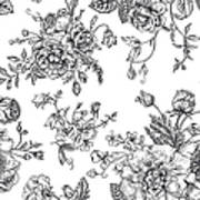 Seamless  Pattern With Bouquet Of Art Print