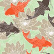 Seamless Pattern With Lotus And Carps Art Print