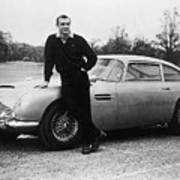Sean Connery With 007s Aston Martin Art Print