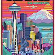 Seattle Poster - Pop Art Skyline Art Print