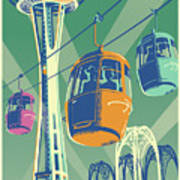 Seattle Poster- Space Needle Vintage Style Art Print