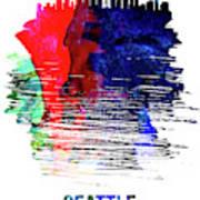 Seattle Skyline Brush Stroke Watercolor   Art Print