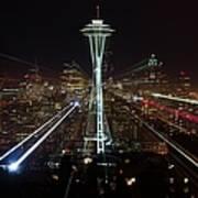 Seattle Skyline Laser Show Art Print