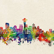 Seattle Skyline Watercolor Art Print