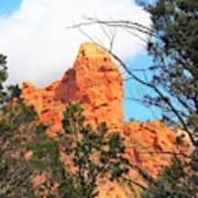 Sedona Adobe Jack Trail Blue Sky Clouds Trees Red Rock 5130 Art Print