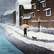 Selection of views of the Tokaido, Snow at Handa, near Nagoya - Digital Remastered Edition Art Print