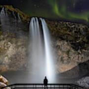 Seljalandsfoss Northern Lights Silhouette Art Print
