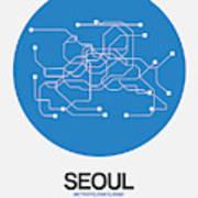 Seoul Blue Subway Map Art Print