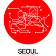 Seoul Red Subway Map Art Print