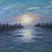 Serene River Sunset Art Print