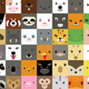 Set Of Cute Simple Animal Faces Art Print