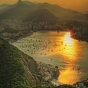 Setting Sun Over Botafogo Art Print