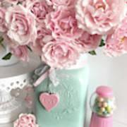 Shabby Chic Pink Roses In Aqua Mason Jar Romantic Cottage Floral Print Home Decor Art Print