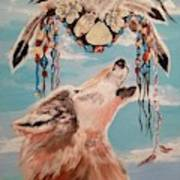 Shaman Mask And Wolf Art Print